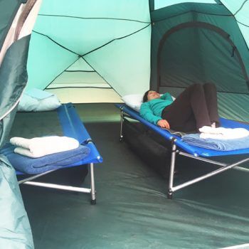 Comfortable tents with cots